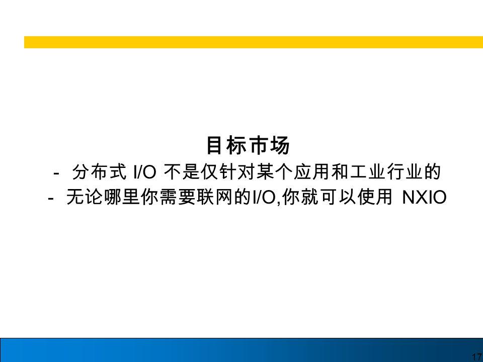 17 目标市场 - 分布式 I/O 不是仅针对某个应用和工业行业的 - 无论哪里你需要联网的 I/O, 你就可以使用 NXIO