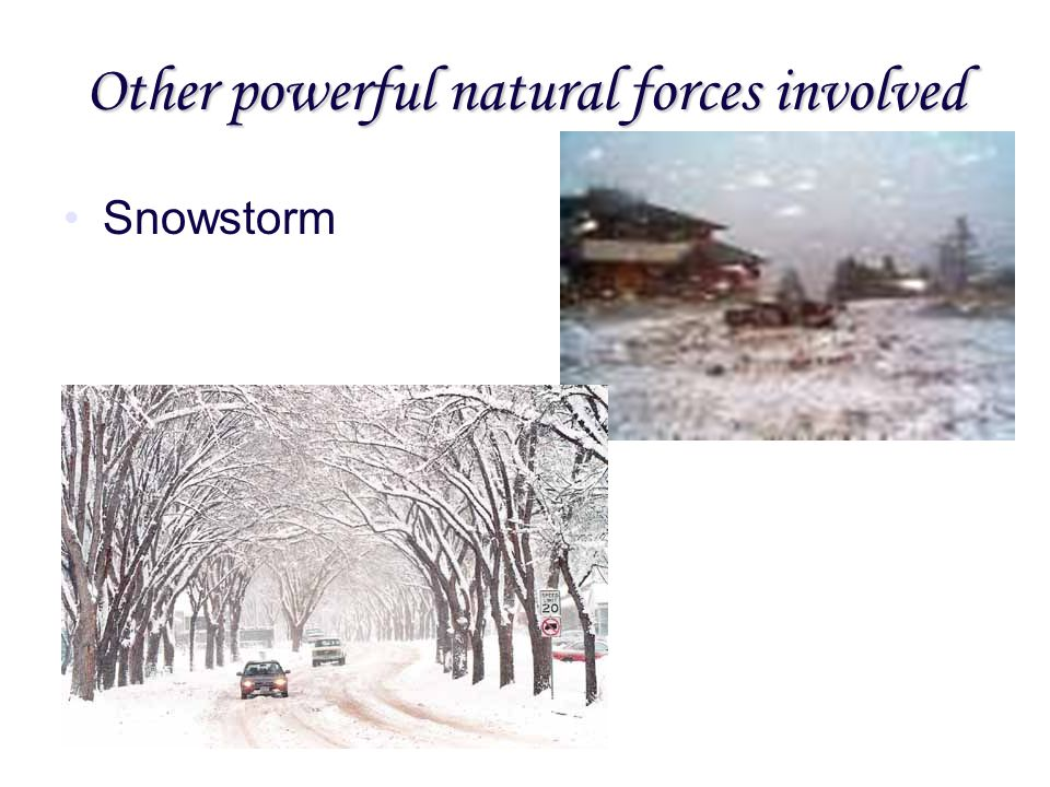 Other powerful natural forces involved Snowstorm