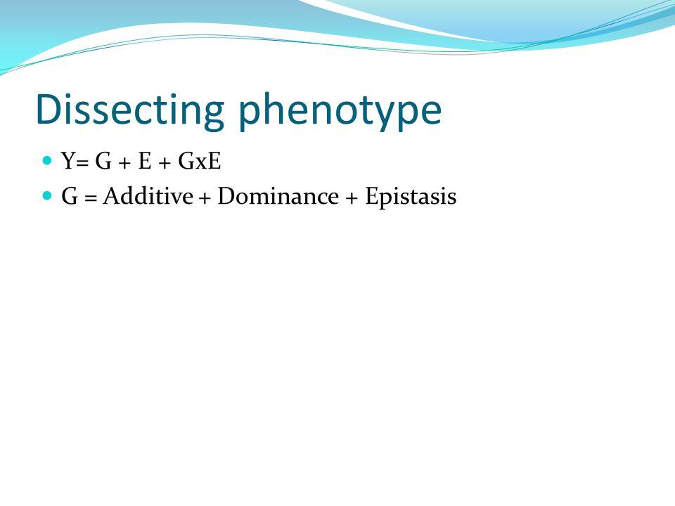 Dissecting phenotype Y= G + E + GxE G = Additive + Dominance + Epistasis