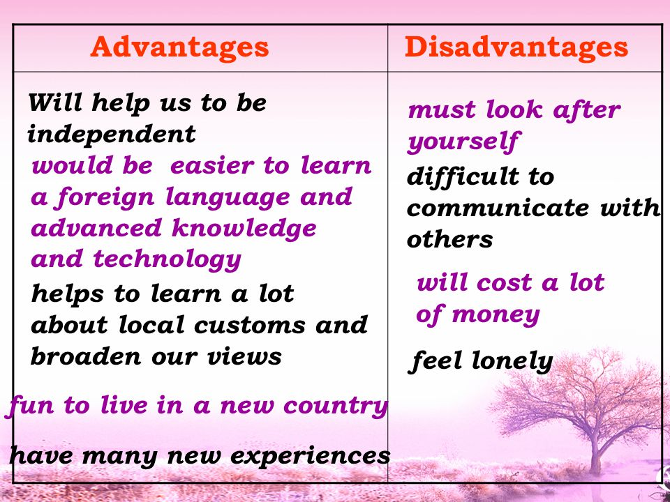 Advantages Disadvantages Will help us to be independent would be easier to learn a foreign language and advanced knowledge and technology difficult to