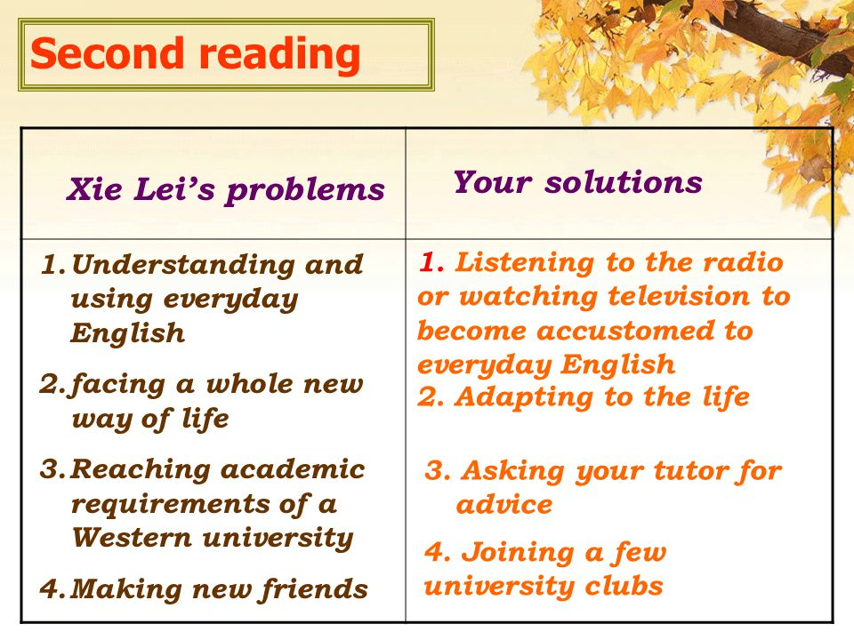 Xie Lei's problems Your solutions 1.Understanding and using everyday English 2.facing a whole new way of life 3.Reaching academic requirements of a Western university 4.Making new friends 2.