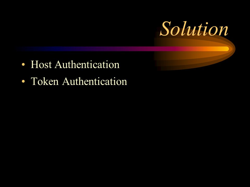 Solution Host Authentication Token Authentication