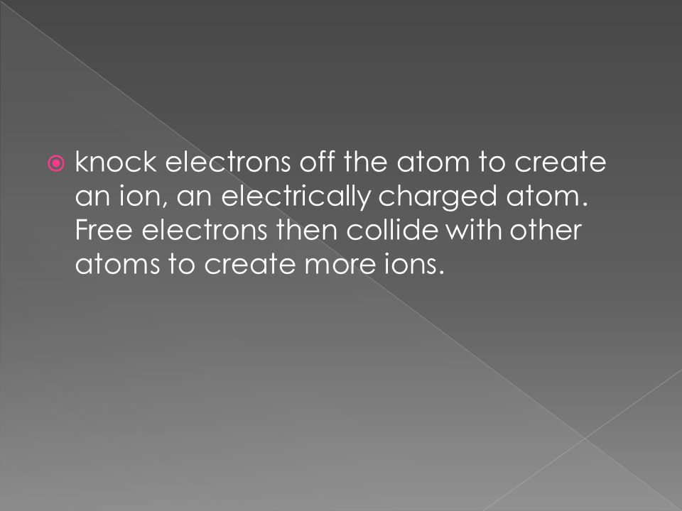  knock electrons off the atom to create an ion, an electrically charged atom.