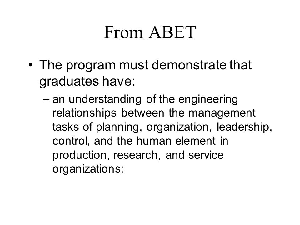 1966 Hilpert Memo to Dean The Engineering Management Program was designed for graduate engineers who have sufficient experience to be ready for supervisory and managerial assignments.