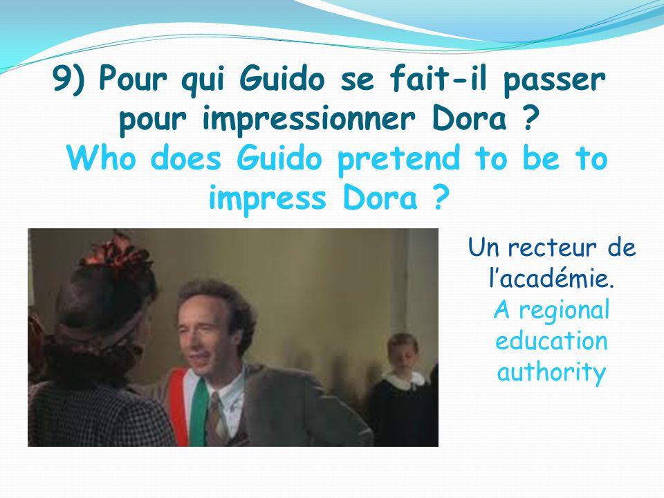 9) Pour qui Guido se fait-il passer pour impressionner Dora .