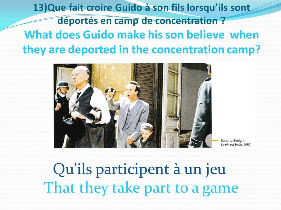 13)Que fait croire Guido à son fils lorsqu'ils sont déportés en camp de concentration .