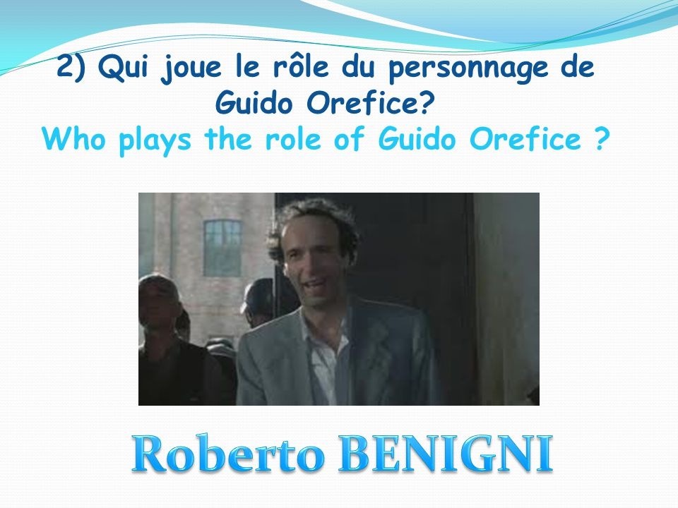 2) Qui joue le rôle du personnage de Guido Orefice Who plays the role of Guido Orefice