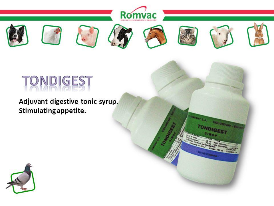 Adjuvant digestive tonic syrup. Stimulating appetite.