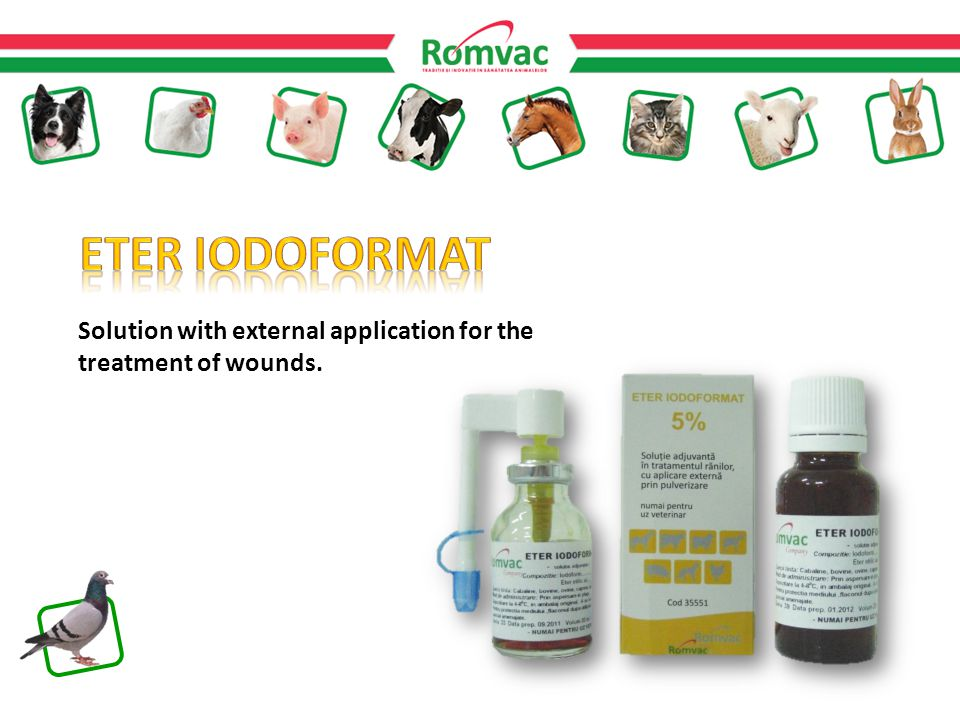 Solution with external application for the treatment of wounds.