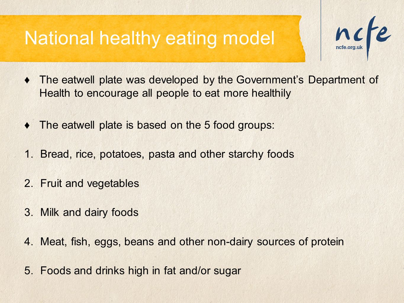 National healthy eating model ♦The eatwell plate was developed by the Government's Department of Health to encourage all people to eat more healthily