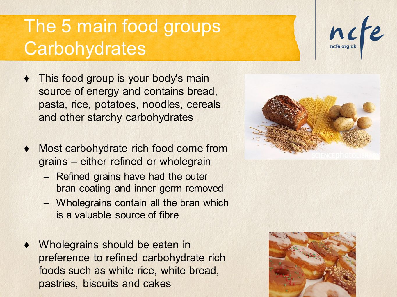 The 5 main food groups Carbohydrates ♦This food group is your body's main source of energy and contains bread, pasta, rice, potatoes, noodles, cereals