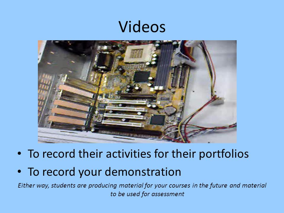 Videos To record their activities for their portfolios To record your demonstration Either way, students are producing material for your courses in the future and material to be used for assessment