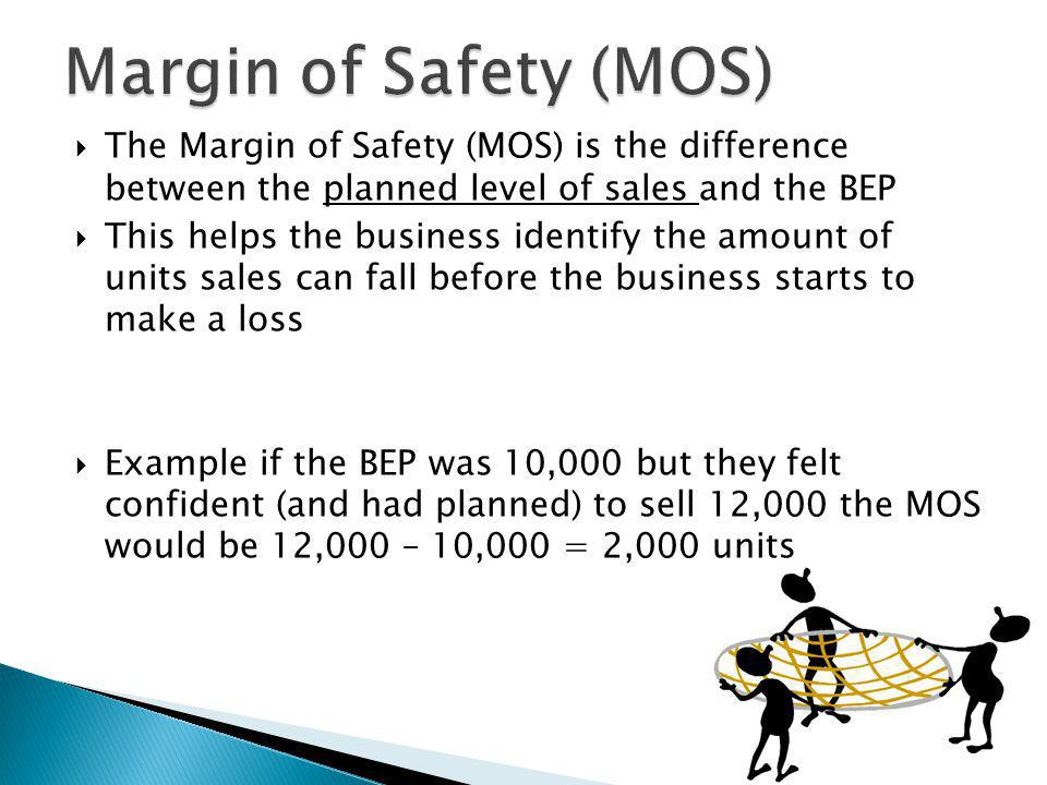  The Margin of Safety (MOS) is the difference between the planned level of sales and the BEP  This helps the business identify the amount of units s