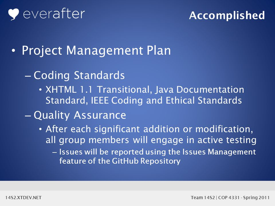 14S2.XTDEV.NET Team 14S2 | COP 4331 - Spring 2011 Project Management Plan – Coding Standards XHTML 1.1 Transitional, Java Documentation Standard, IEEE Coding and Ethical Standards – Quality Assurance After each significant addition or modification, all group members will engage in active testing – Issues will be reported using the Issues Management feature of the GitHub Repository Accomplished