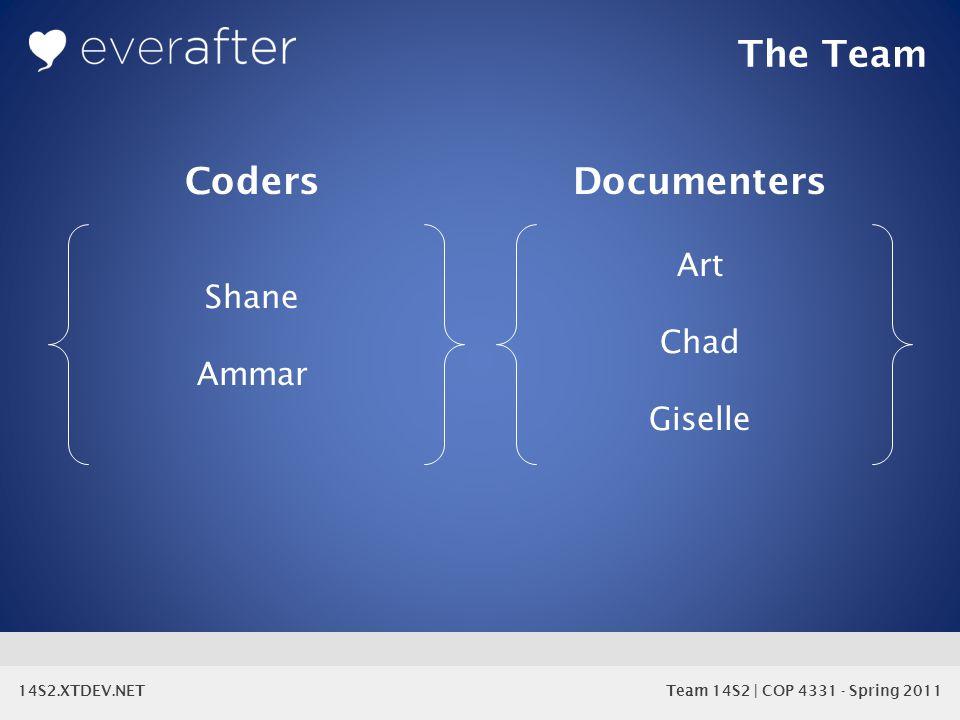 14S2.XTDEV.NET Team 14S2 | COP 4331 - Spring 2011 The Team CodersDocumenters Shane Ammar Art Chad Giselle