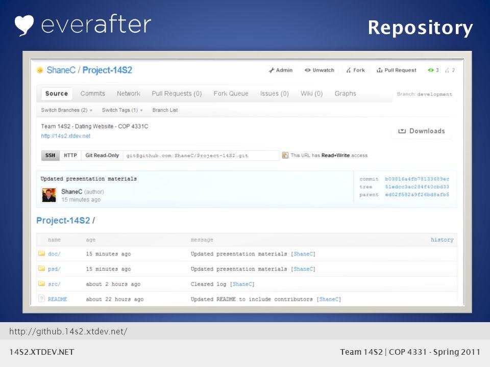 14S2.XTDEV.NET Team 14S2 | COP 4331 - Spring 2011 Repository http://github.14s2.xtdev.net/