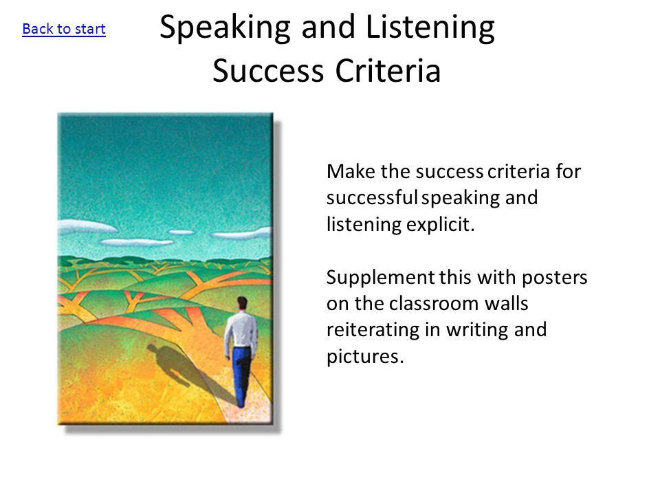 Speaking and Listening Success Criteria Make the success criteria for successful speaking and listening explicit.