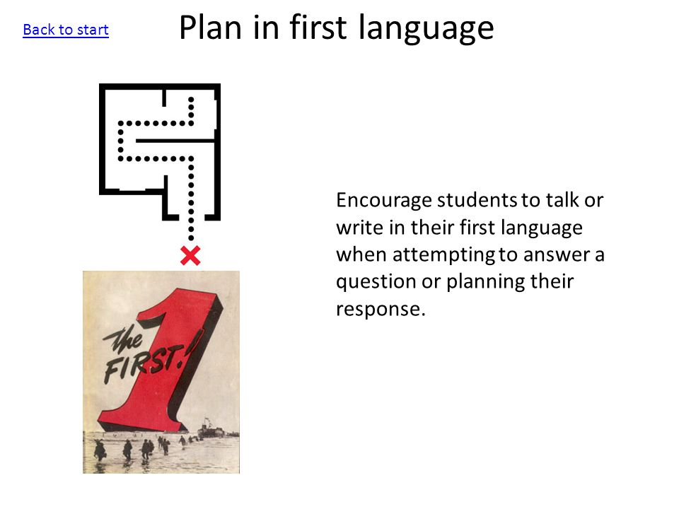 Plan in first language Encourage students to talk or write in their first language when attempting to answer a question or planning their response.
