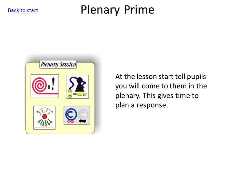 Plenary Prime At the lesson start tell pupils you will come to them in the plenary.