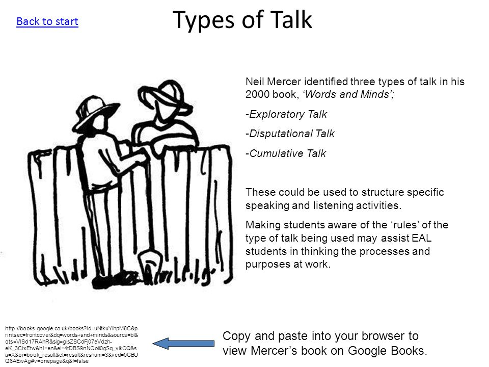 Types of Talk Neil Mercer identified three types of talk in his 2000 book, 'Words and Minds'; -Exploratory Talk -Disputational Talk -Cumulative Talk These could be used to structure specific speaking and listening activities.