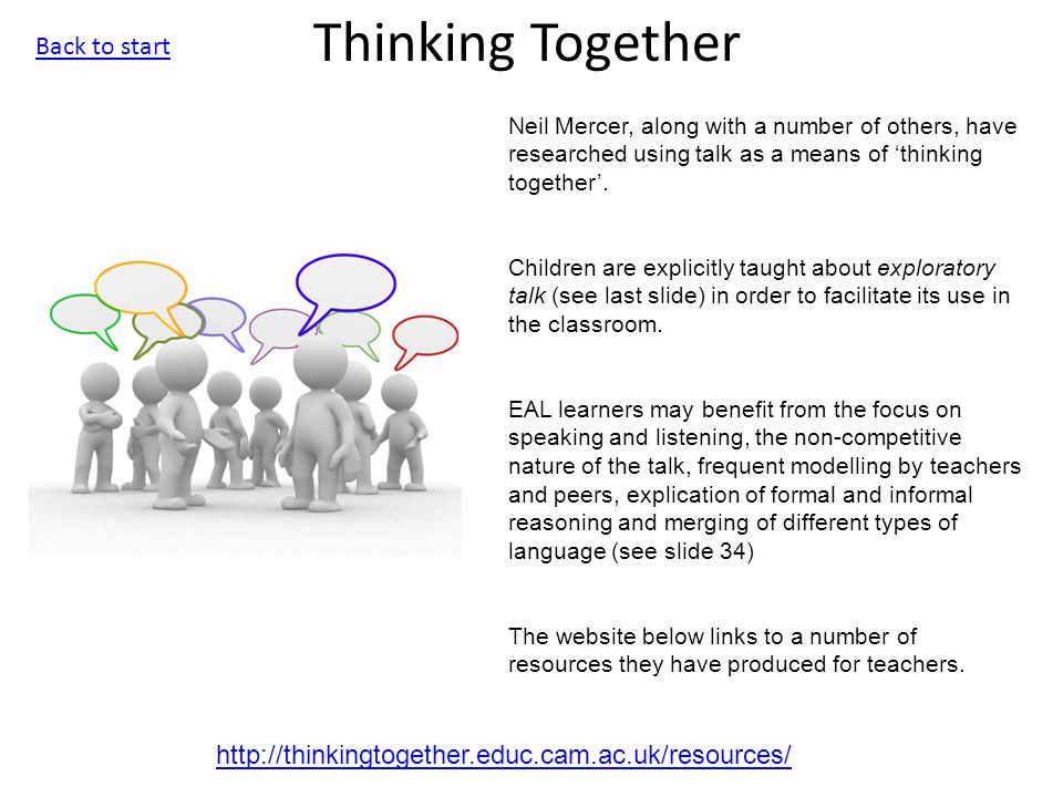 Thinking Together http://thinkingtogether.educ.cam.ac.uk/resources/ Neil Mercer, along with a number of others, have researched using talk as a means of 'thinking together'.