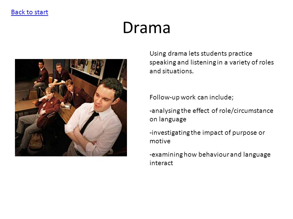 Drama Back to start Using drama lets students practice speaking and listening in a variety of roles and situations.