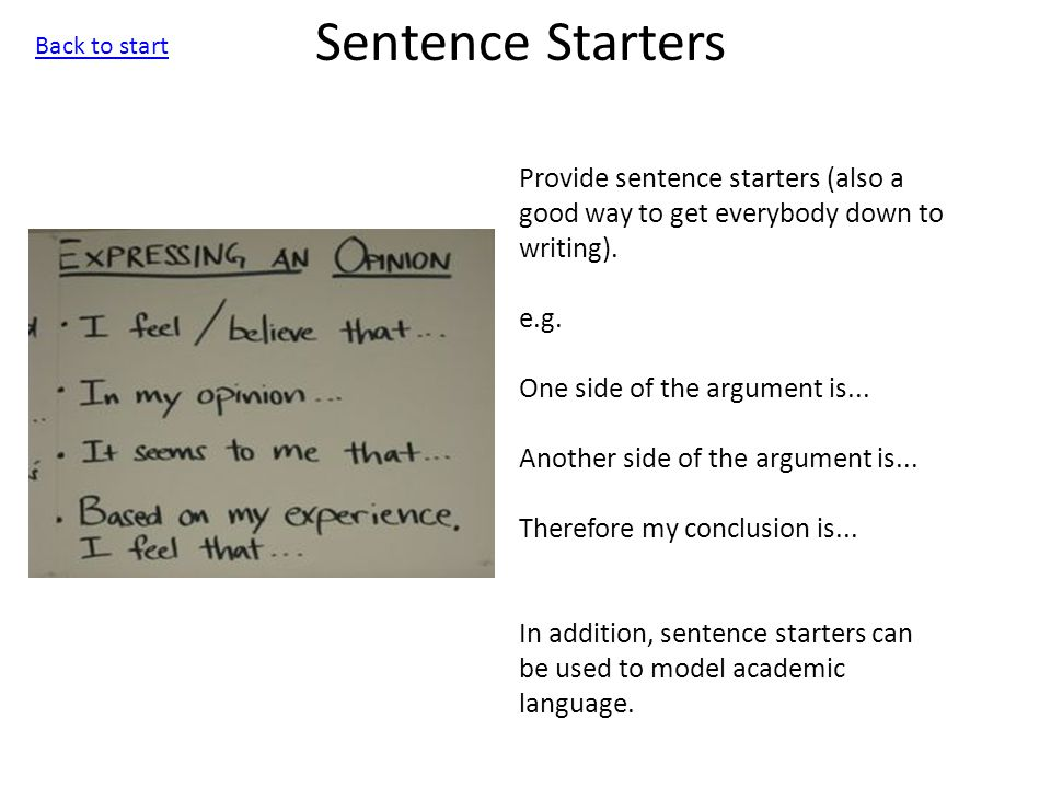 Writing Frame Provide students with a list of words and phrases appropriate for use in the writing task set.