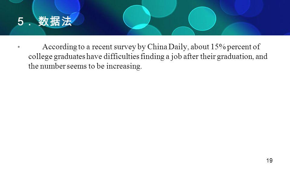 19 5 . 数据法 According to a recent survey by China Daily, about 15% percent of college graduates have difficulties finding a job after their graduation,
