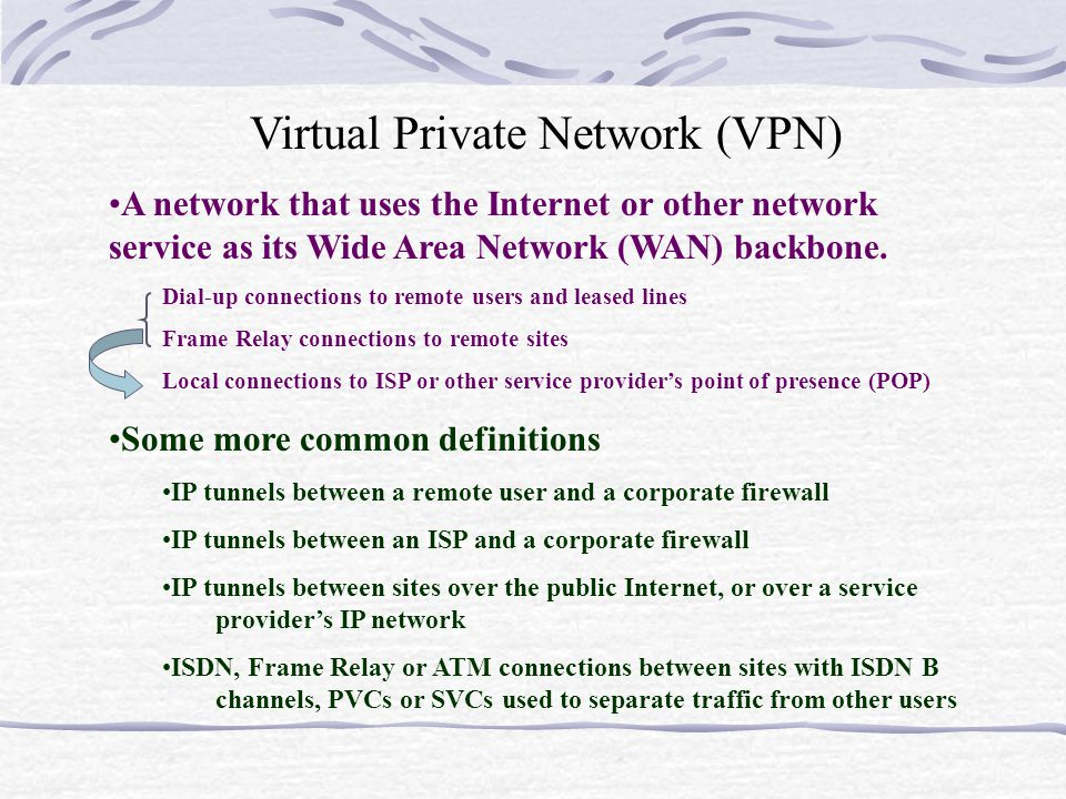 Virtual Private Network (VPN) A network that uses the Internet or other network service as its Wide Area Network (WAN) backbone.