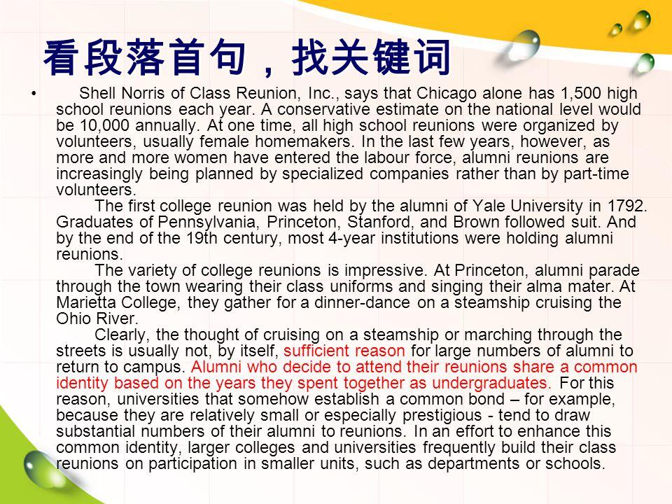 看段落首句,找关键词 Shell Norris of Class Reunion, Inc., says that Chicago alone has 1,500 high school reunions each year.