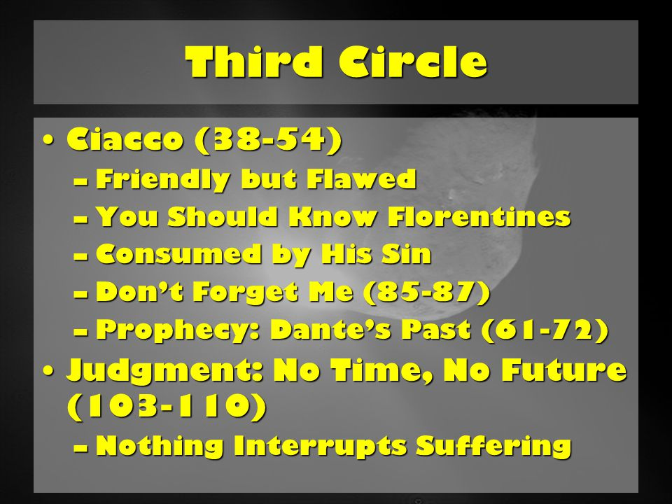 Fourth Circle Fourth Circle: Avarice and Prodigality (Hoarding and Wasting)Fourth Circle: Avarice and Prodigality (Hoarding and Wasting) –Pushing Dead Weight –Different Sin, Same Spectrum –Mortgaged Connection to Humanity –Dante: Accused of Graft Lesson: Stand up to corruption; concentrate on the good and permanent; powerful forces work in mysterious waysLesson: Stand up to corruption; concentrate on the good and permanent; powerful forces work in mysterious ways