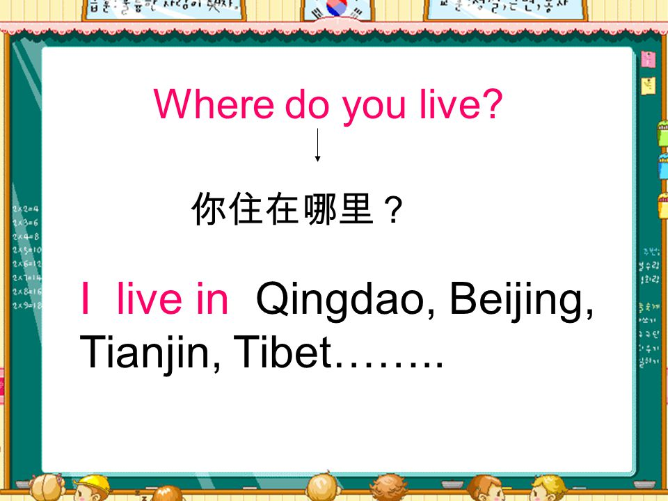 Where do you live? I live in Qingdao, Beijing, Tianjin, Tibet…….. 你住在哪里?