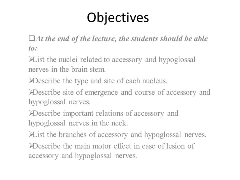 Objectives  At the end of the lecture, the students should be able to:  List the nuclei related to accessory and hypoglossal nerves in the brain stem.
