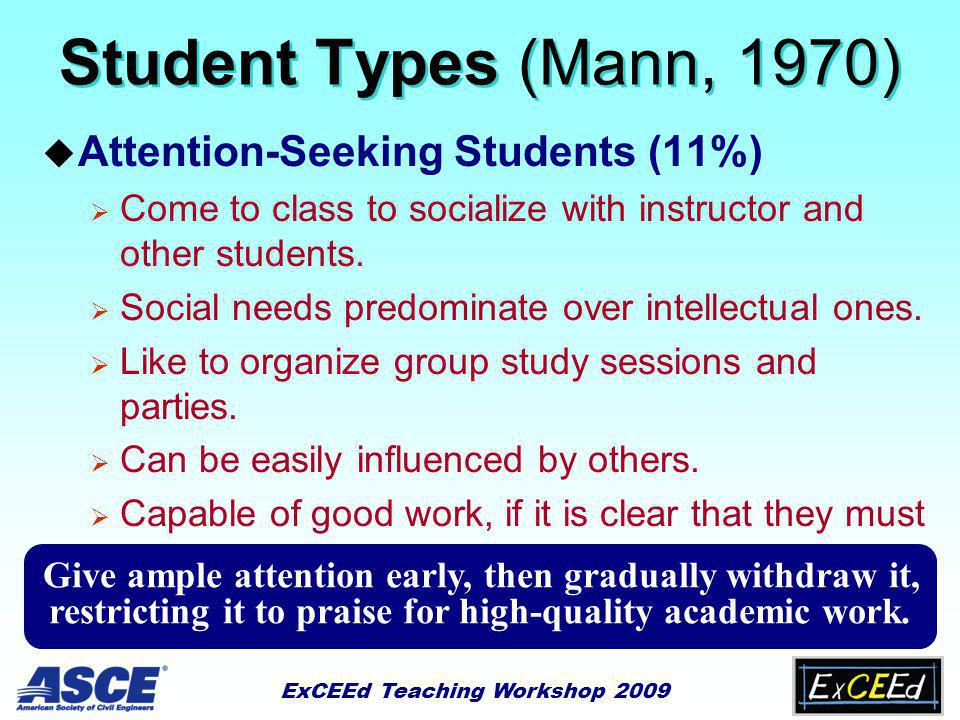 ExCEEd Teaching Workshop 2009 Student Types (Mann, 1970) u Attention-Seeking Students (11%)  Come to class to socialize with instructor and other students.