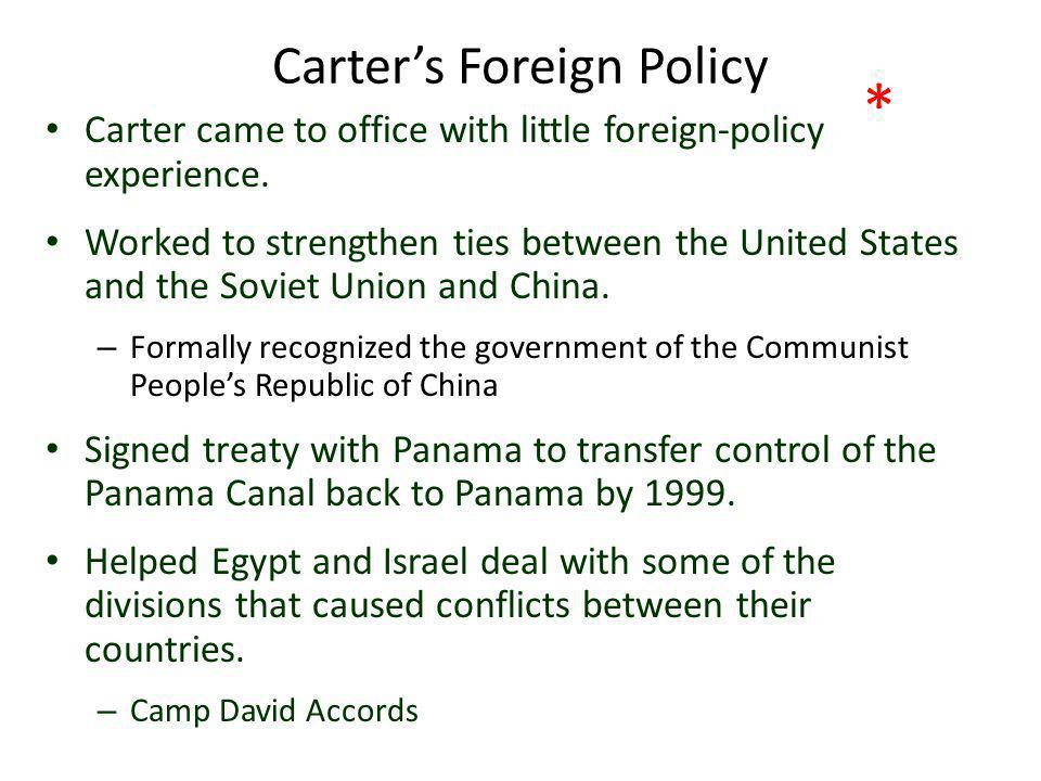 Camp David Accords Carter invited the leaders of Israel and Egypt to Camp David to negotiate a peace settlement (had been in state of war for years).