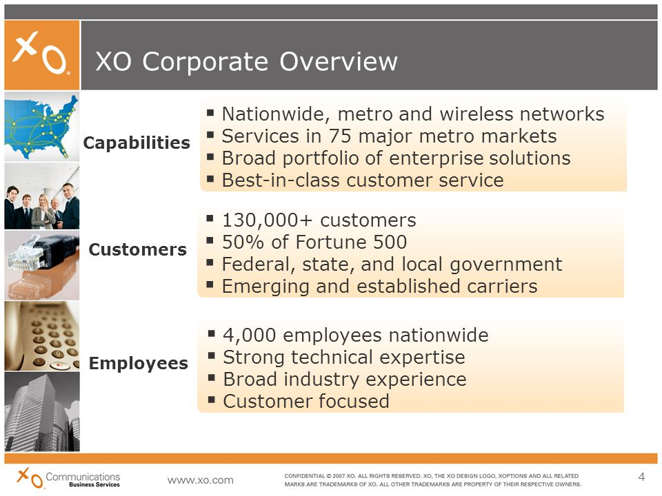 4 XO Corporate Overview  4,000 employees nationwide  Strong technical expertise  Broad industry experience  Customer focused  130,000+ customers  50% of Fortune 500  Federal, state, and local government  Emerging and established carriers  Nationwide, metro and wireless networks  Services in 75 major metro markets  Broad portfolio of enterprise solutions  Best-in-class customer service Employees Customers Capabilities