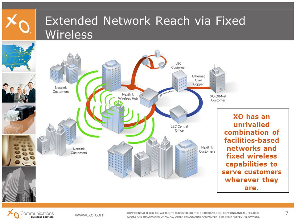 7 Extended Network Reach via Fixed Wireless XO has an unrivalled combination of facilities-based networks and fixed wireless capabilities to serve customers wherever they are.