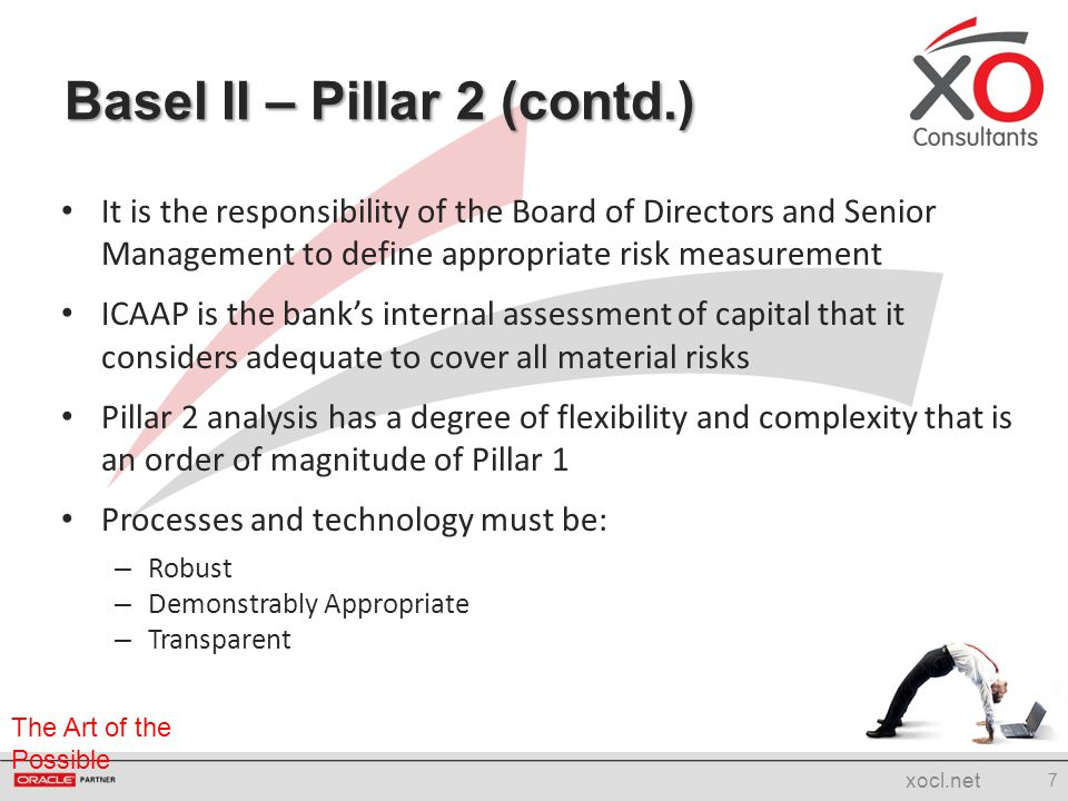 The Art of the Possible It is the responsibility of the Board of Directors and Senior Management to define appropriate risk measurement ICAAP is the b
