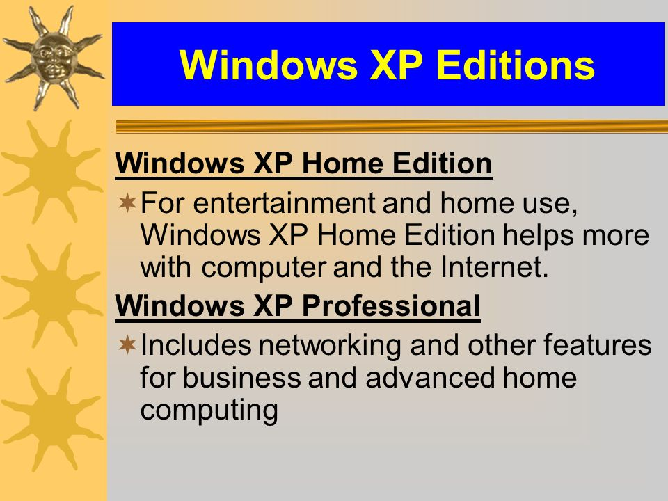 Windows XP Editions Windows XP Home Edition  For entertainment and home use, Windows XP Home Edition helps more with computer and the Internet.