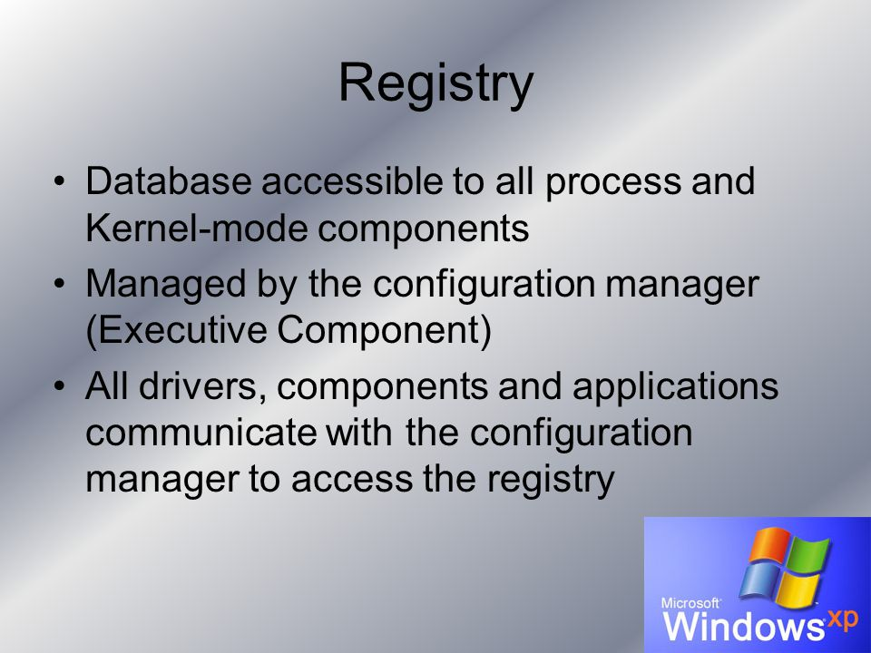 Registry Database accessible to all process and Kernel-mode components Managed by the configuration manager (Executive Component) All drivers, components and applications communicate with the configuration manager to access the registry