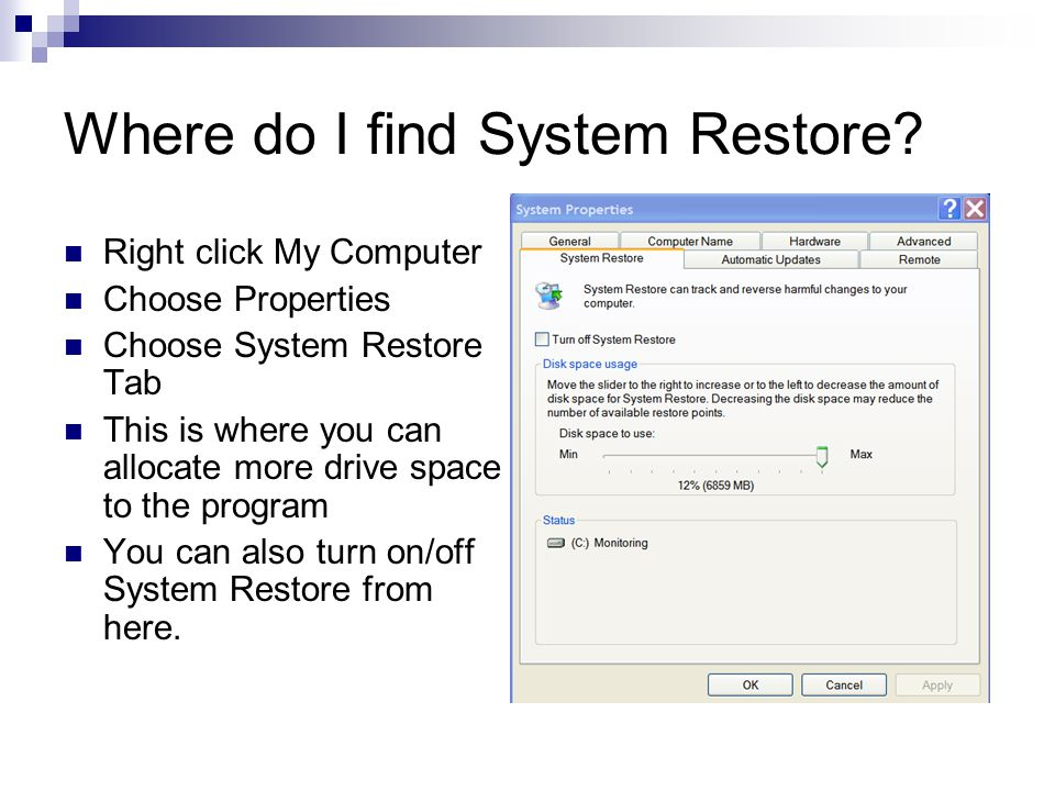 What you can do before you use System Restore F8 upon reboot and choose and Choose Last Known Good Configuration Run problem applications in Compatibility Mode (Start/Programs / Accessories / Program Compatibility Wizard) Add/Remove programs Run Device Rollback if problem occurs after a new device driver is installed.