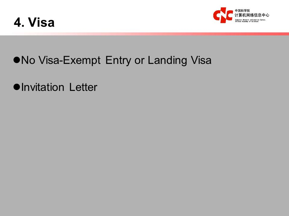 4. Visa No Visa-Exempt Entry or Landing Visa Invitation Letter