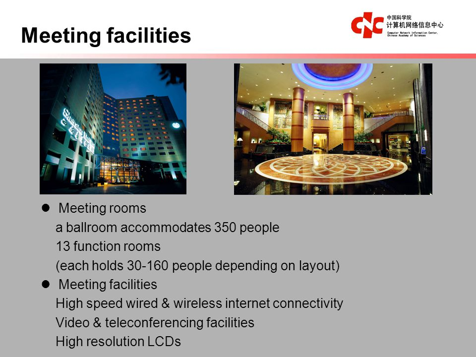 Meeting rooms a ballroom accommodates 350 people 13 function rooms (each holds 30-160 people depending on layout) Meeting facilities High speed wired & wireless internet connectivity Video & teleconferencing facilities High resolution LCDs Meeting facilities