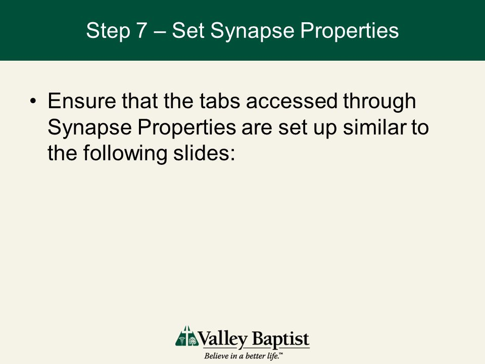 Step 7 – Set Synapse Properties Ensure that the tabs accessed through Synapse Properties are set up similar to the following slides: