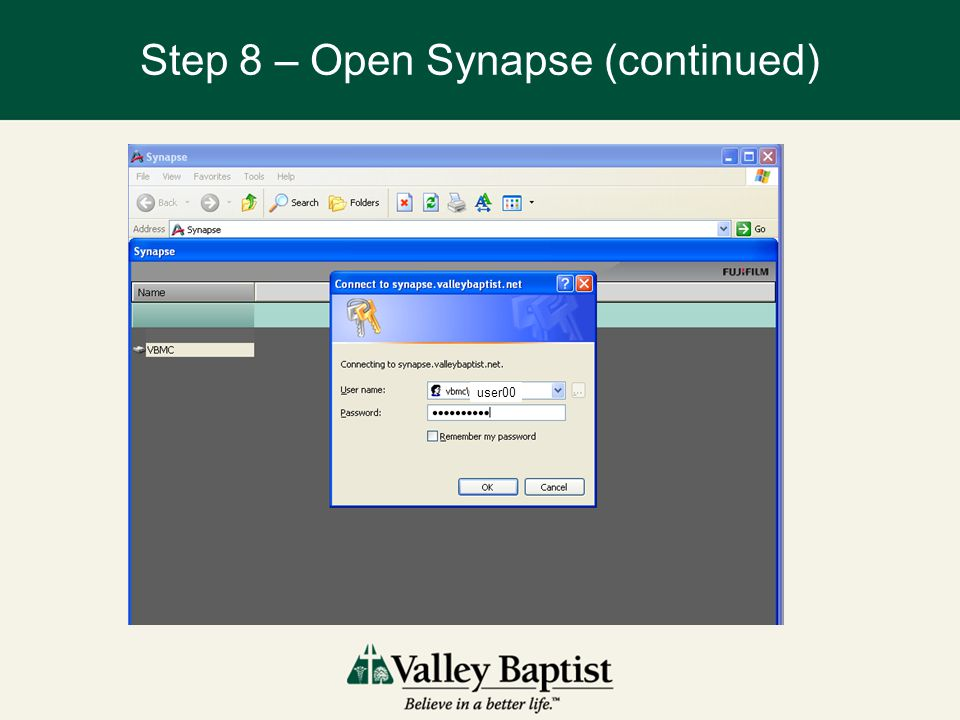 Step 8 – Open Synapse (continued) user00