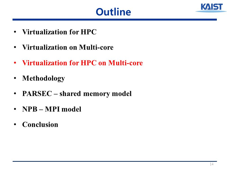 Outline Virtualization for HPC Virtualization on Multi-core Virtualization for HPC on Multi-core Methodology PARSEC – shared memory model NPB – MPI model Conclusion 14
