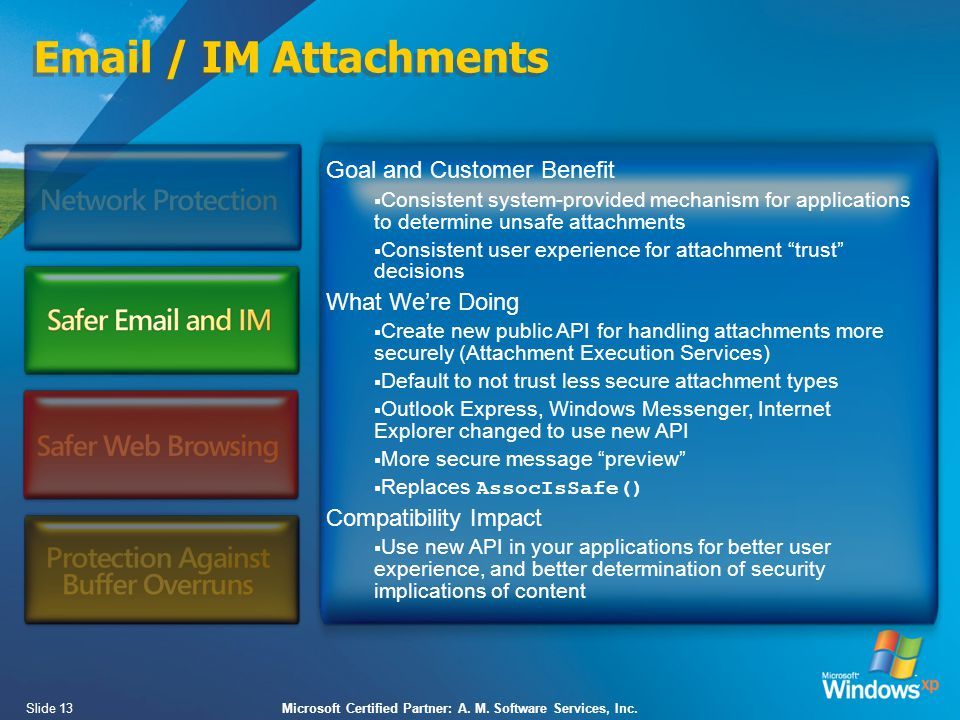 Slide 13Microsoft Certified Partner: A. M. Software Services, Inc.