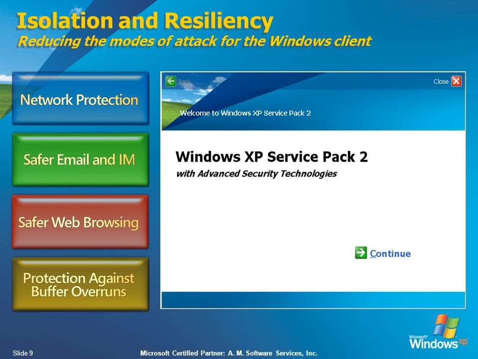 Slide 9Microsoft Certified Partner: A. M. Software Services, Inc.