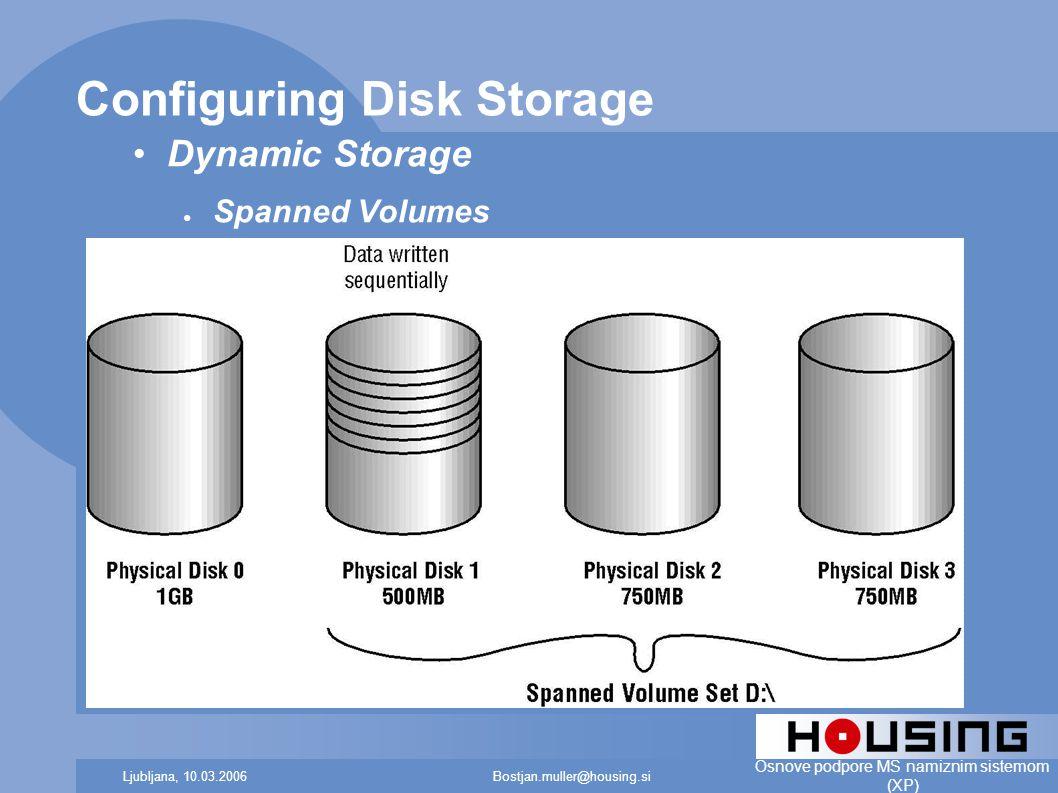 Bostjan.muller@housing.siLjubljana, 10.03.2006 Osnove podpore MS namiznim sistemom (XP) Configuring Disk Storage Dynamic Storage ● Spanned Volumes