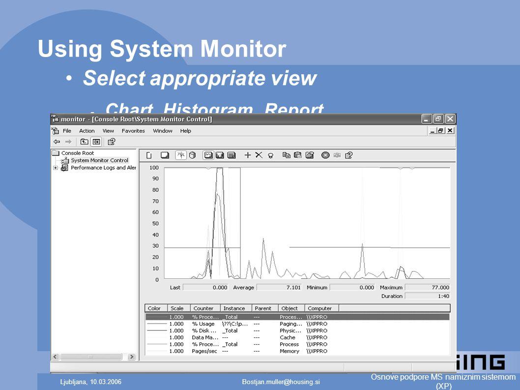 Bostjan.muller@housing.siLjubljana, 10.03.2006 Osnove podpore MS namiznim sistemom (XP) Using System Monitor Select appropriate view ● Chart, Histogram, Report